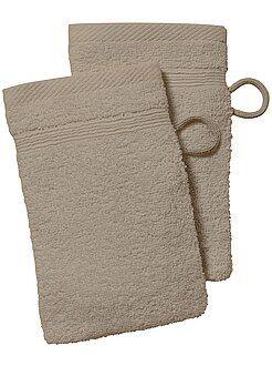 Serviettes de toilette - Lot de 2 gants de toilette - Kiabi