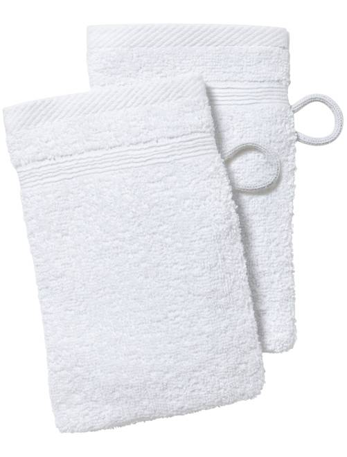 Lot de 2 gants de toilette                                                                                                                                                                 blanc