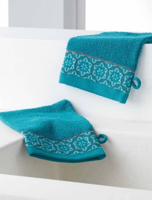 Lot de 2 gants de toilette                                         bleu Linge de lit