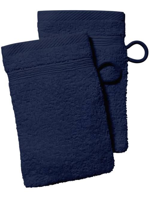 Lot de 2 gants de toilette                                                                                                                                                                 bleu marine
