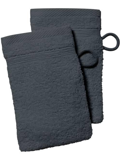 Lot de 2 gants de toilette                                                                                                                                                                 gris foncé Linge de lit