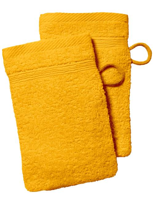 Lot de 2 gants de toilette                                                                                                                                                                 jaune