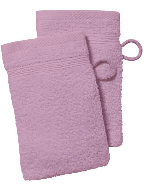 Lot de 2 gants de toilette                     rose
