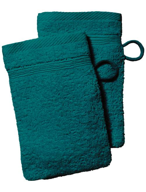 Lot de 2 gants de toilette                                                                                                                                                                 vert émeraude Linge de lit