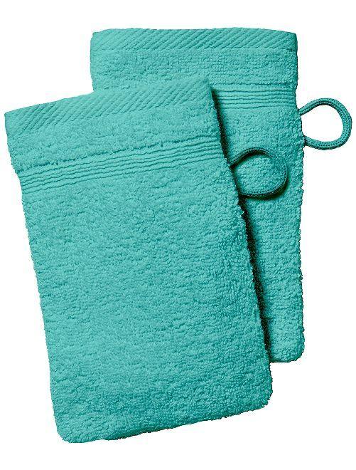 Lot de 2 gants de toilette                                         vert menthe