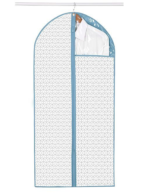 Lot de 2 housses de vêtement en tissu                                         blanc/bleu