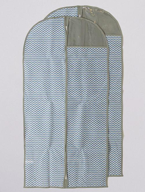 Lot de 2 housses de vêtement hauteur 120 cm                             bleu