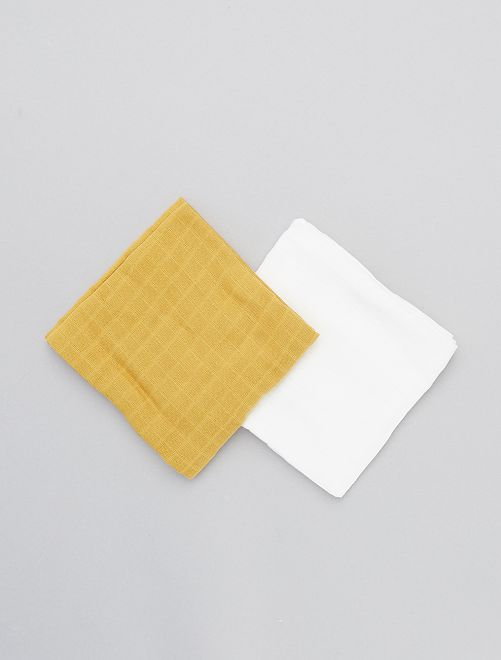 Lot de 2 langes                             jaune/blanc