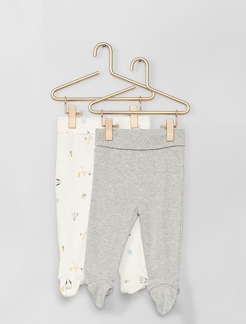 Lot de 2 leggings avec pieds éco-conçu                                                                                         blanc