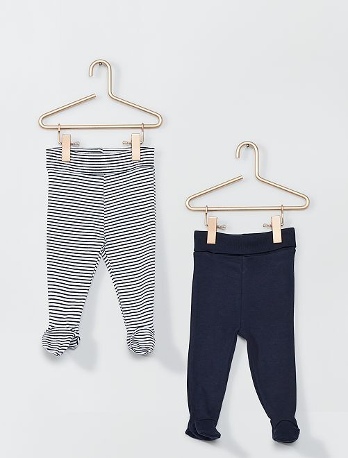 Lot de 2 leggings avec pieds éco-conçu                                         marine/rayé