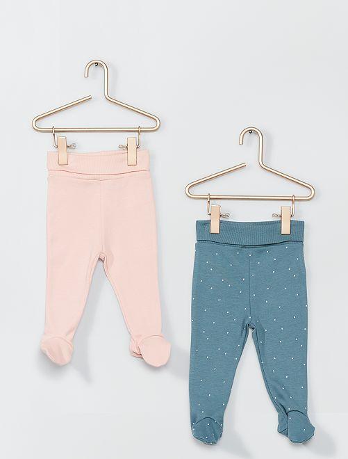 Lot de 2 leggings avec pieds éco-conçu                                         vert/rose