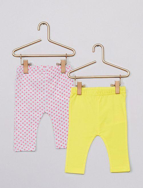 Lot de 2 leggings                                         rose/jaune