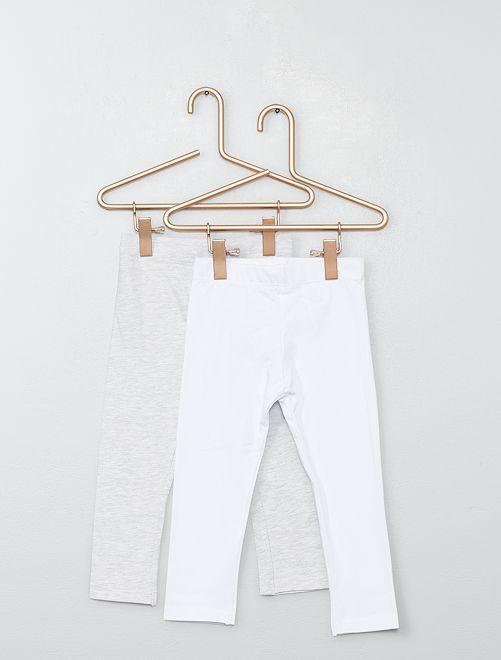 Lot de 2 leggings unis                                                                 blanc/gris