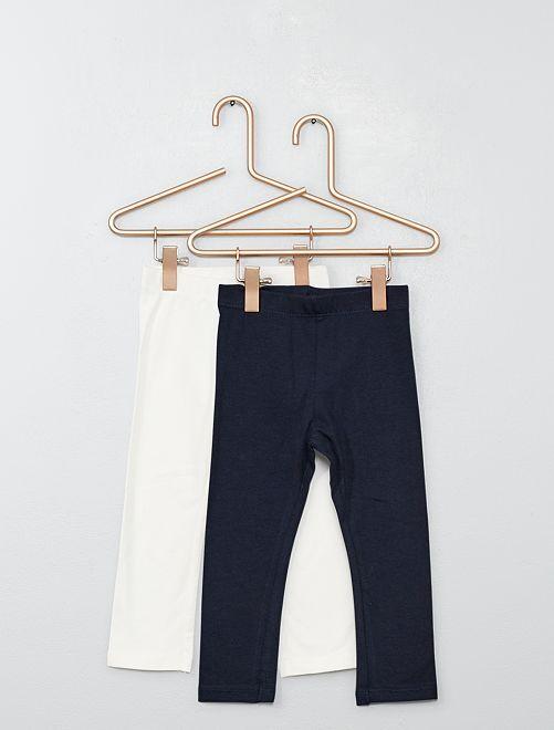 Lot de 2 leggings unis                                             écru/marine