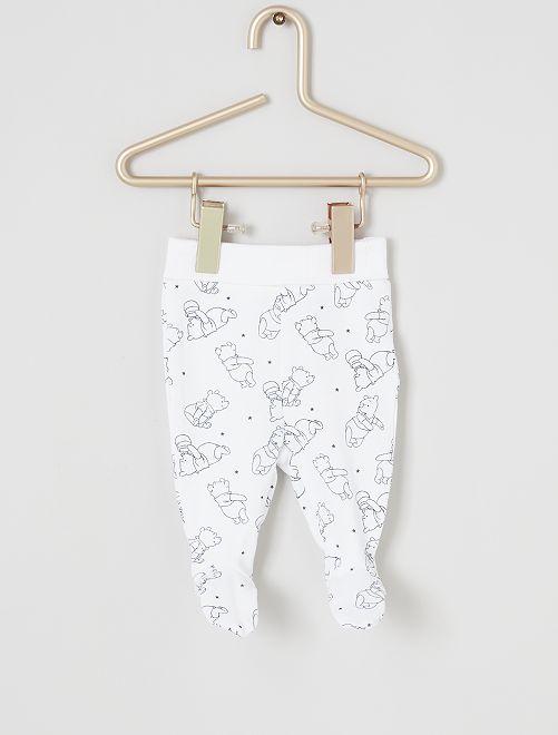 Lot de 2 leggings 'Winnie l'Ourson' éco-conçus                                         blanc/gris