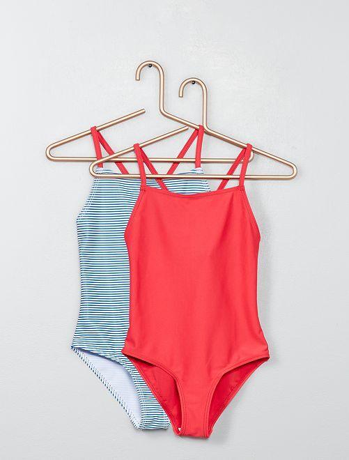 89bb1d3479 Lot de 2 maillots de bain Fille - bleu/rose - Kiabi - 6,40€