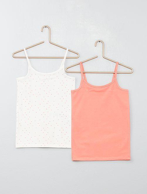 Lot de 2 maillots de corps à fines bretelles                                         blanc/corail
