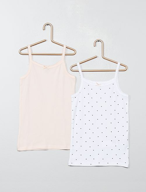 Lot de 2 maillots de corps 'éco-conception'                             rose/blanc