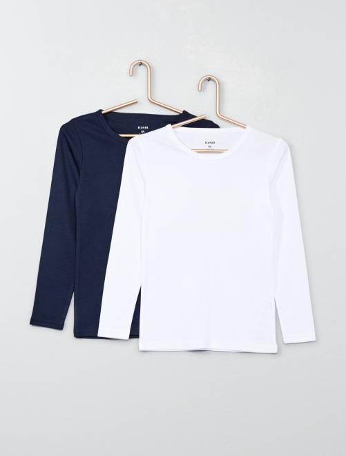 lot de 2 maillots de corps en coton gar on bleu marine. Black Bedroom Furniture Sets. Home Design Ideas