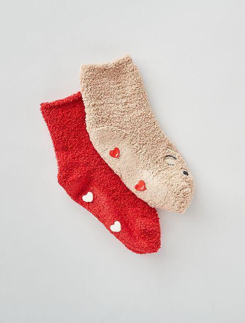 Lot de 2 paires de chaussettes antidérapantes                                                                                                     beige/rouge