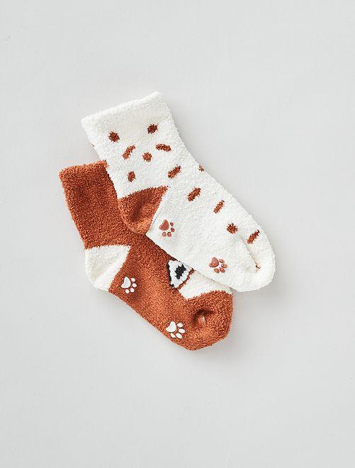 Lot de 2 paires de chaussettes antidérapantes                                         blanc/marron