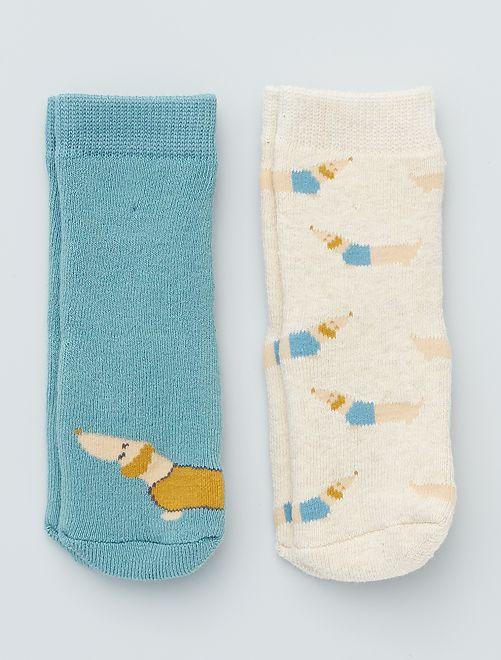 Lot de 2 paires de chaussettes antidérapantes                                                                                                                             bleu/beige/chien