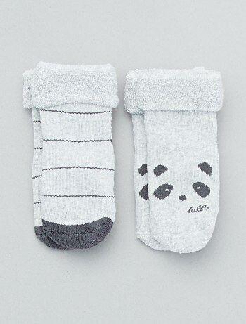 5ac8881203261 Fille 0-36 mois - Lot de 2 paires de chaussettes antidérapantes - Kiabi