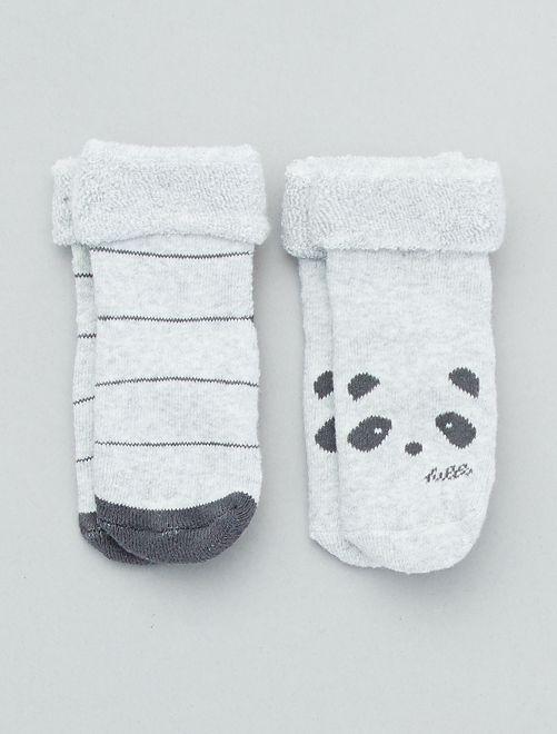 Lot de 2 paires de chaussettes antidérapantes                                                                 gris