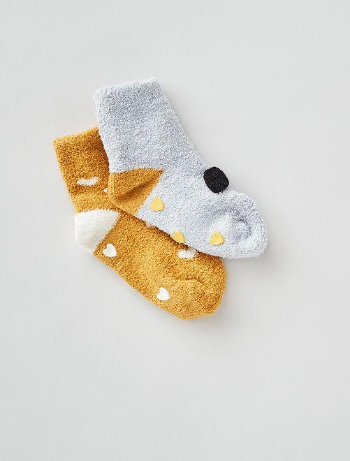 Lot de 2 paires de chaussettes antidérapantes                                         gris/jaune