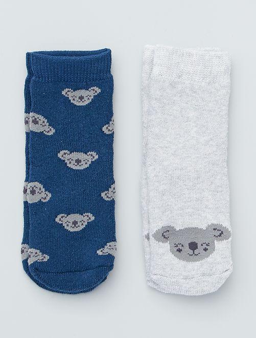 Lot de 2 paires de chaussettes antidérapantes                                                                                                                             marine/gris/koala
