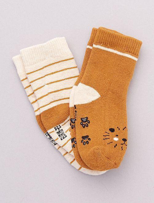 Lot de 2 paires de chaussettes antidérapantes                                                                                                                             ocre/lion
