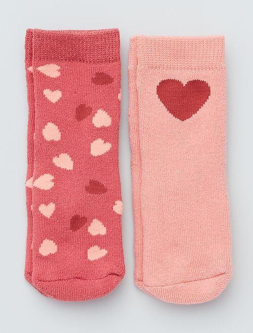 Lot de 2 paires de chaussettes antidérapantes                                                                                                                             rose/coeurs