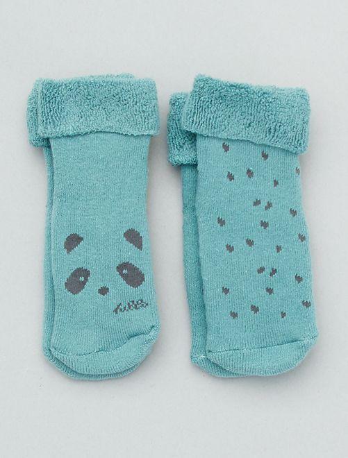 Lot de 2 paires de chaussettes antidérapantes                                                                 vert d'eau