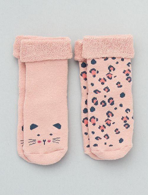 Lot de 2 paires de chaussettes antidérapantes                                                                 vieux-rose