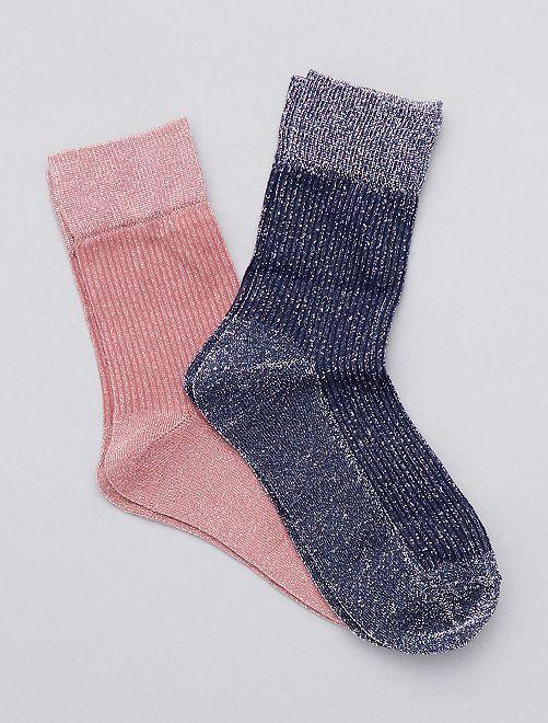 Lot de 2 paires de chaussettes brillantes                                         bleu/rose Lingerie du s au xxl