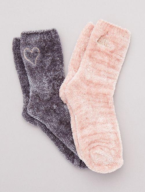 Lot de 2 paires de chaussettes chaude                                         gris/rose