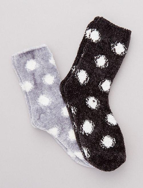 Lot de 2 paires de chaussettes chaude                                         noir/gris Lingerie du s au xxl