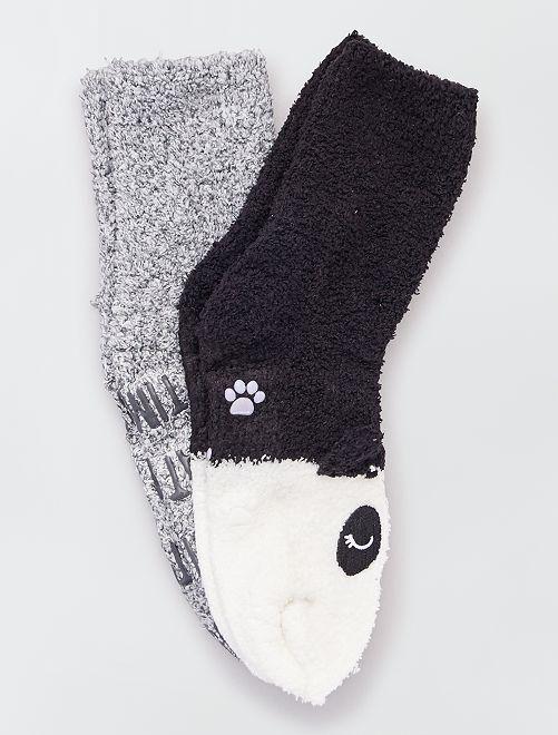 Lot de 2 paires de chaussettes chaudes 'animaux'                                                                 gris noir blanc