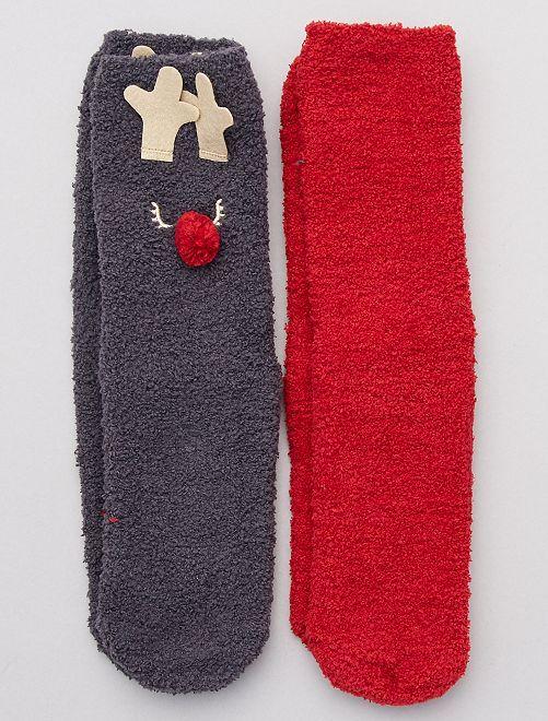 Lot de 2 paires de chaussettes chaudes 'animaux'                                                                 rouge gris