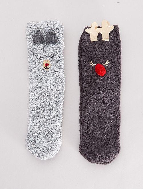Lot de 2 paires de chaussettes chaudes                                         gris
