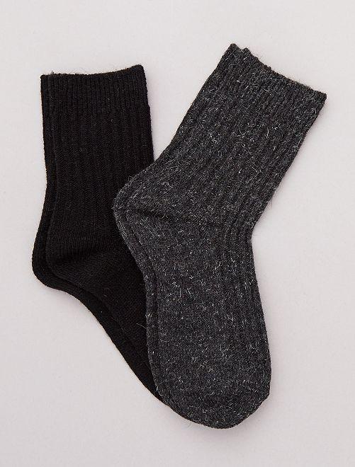 Lot de 2 paires de chaussettes chaudes                     gris/noir