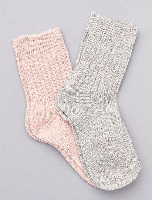 Lot de 2 paires de chaussettes chaudes                                                                             gris/rose