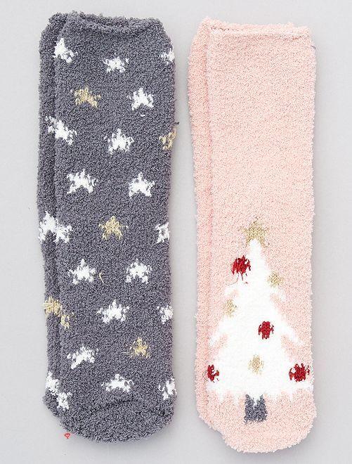 Lot de 2 paires de chaussettes de Noël                                         rose/gris