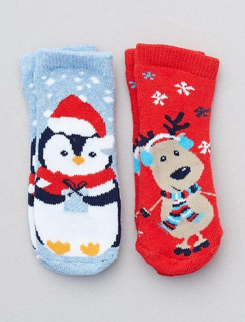 Lot de 2 paires de chaussettes de noël                                         rouge/bleu