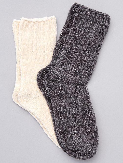 Lot de 2 paires de chaussettes douces                                                                 gris beige