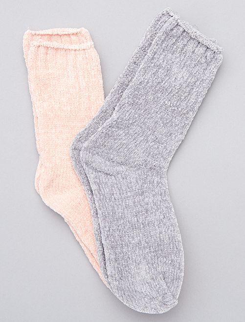 Lot de 2 paires de chaussettes douces                                                                 gris