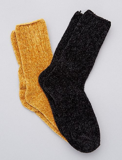 Lot de 2 paires de chaussettes douces                     jaune moutarde