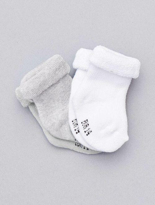 Lot de 2 paires de chaussettes 'éco-conçues' Bébé garçon - gris - Kiabi - 3,00€