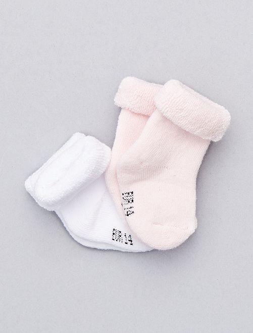 Lot de 2 paires de chaussettes en coton bio                                                                             blanc/rose