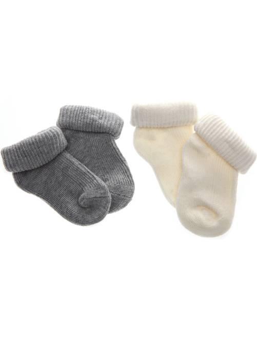 Lot de 2 paires de chaussettes en coton bio                                                                 gris/écru